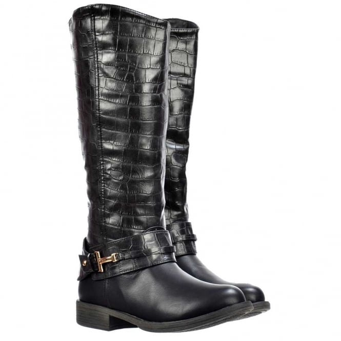 Onlineshoe Knee High Flat Boots With Crocodile Print Upper - Black, Tan Brown