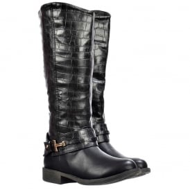Knee High Flat Boots With Crocodile Print Upper - Black, Tan Brown