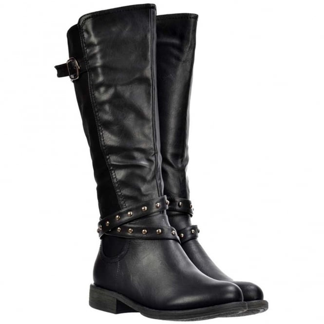 Onlineshoe Knee High Riding Boots - Buckles and Studs - Black