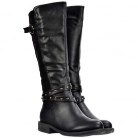 Knee High Riding Boots - Buckles and Studs - Black