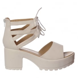 Lace Up Ankle Strap Cleated Sole Block Heel Sandals