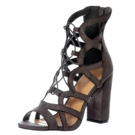 Lace Up Block Heel Peep Toe Sandal
