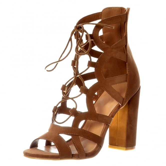 Onlineshoe Lace Up Block Heel Peep Toe Sandal