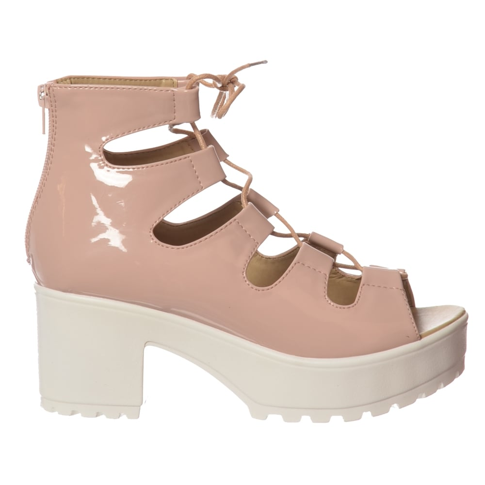 e0fa19766bf Onlineshoe Lace Up Cleated Sole Block Heel Sandals - WOMENS from ...