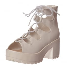 Lace Up Cleated Sole Block Heel Sandals