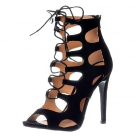 Lace Up High Heel Peep Toe Shoe - Stiletto Heel