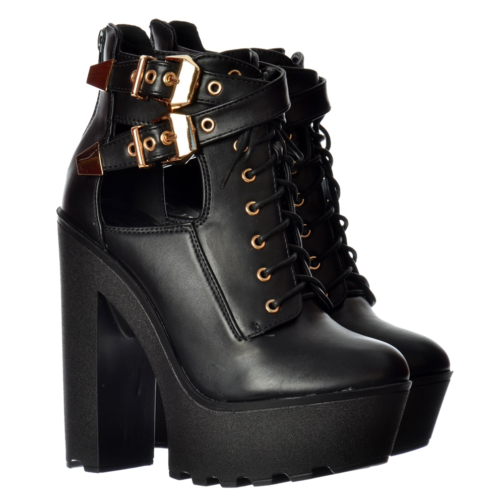 76027bc3f97 Lace Up High Heel Platform Ankle Boots - Cut Out Sides Cleated Sole - Black  PU