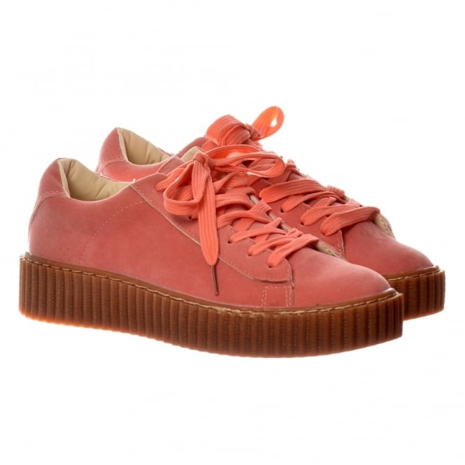 Onlineshoe Lace Up Platform Flat Creeper Suede Shoes - Pink, Grey