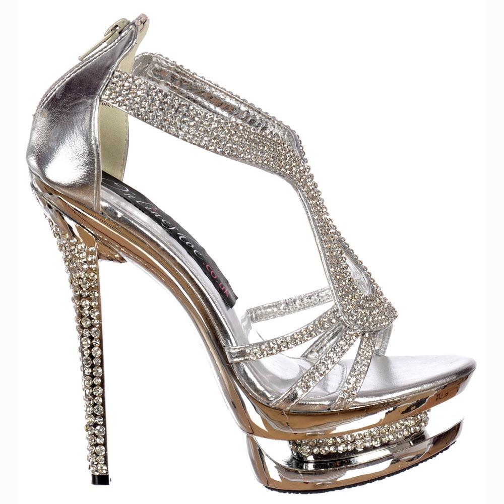 90336b80e37 Onlineshoe Ladies Ivory Crystal Platform Crystal Diamante Stiletto ...