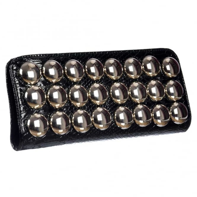 Onlineshoe Ladies Metallic Evening Clutch Handbag - Black Metallic