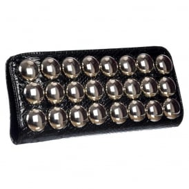 Ladies Metallic Evening Clutch Handbag - Black Metallic