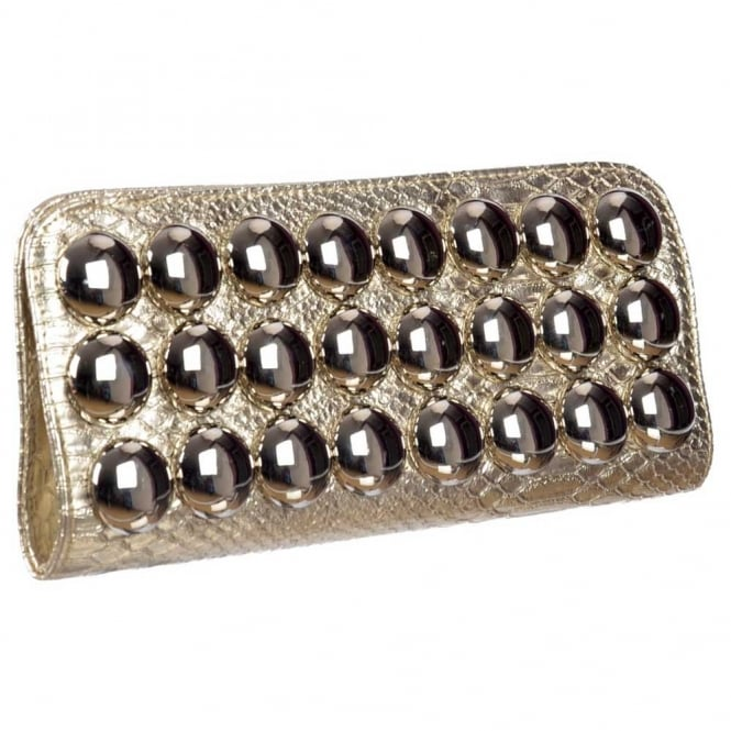 Onlineshoe Ladies Metallic Evening Clutch Handbag - Gold Metallic