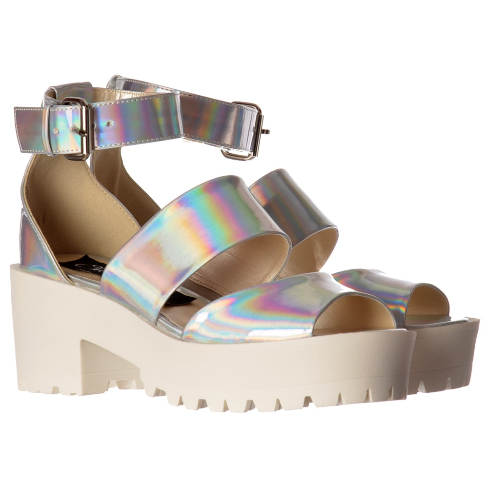 1f70f81b161 Low Block Heel Cleated Sole Summer Sandals - Ankle Strap - Pewter Chrome