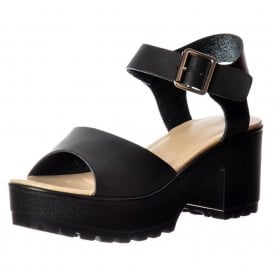 Low Block Heel Cleated Sole Summer Sandals - Black, White