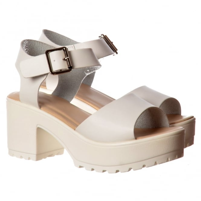 Onlineshoe Low Block Heel Cleated Sole Summer Sandals - Black, White