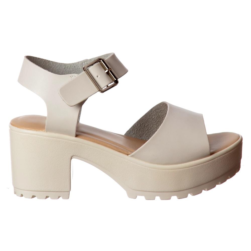Low Block Sole Sandals Cleated Heel BlackWhite Summer 08vNwmn