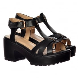 Low Block Heel T Bar Cleated Sole Summer Sandals - Black, White
