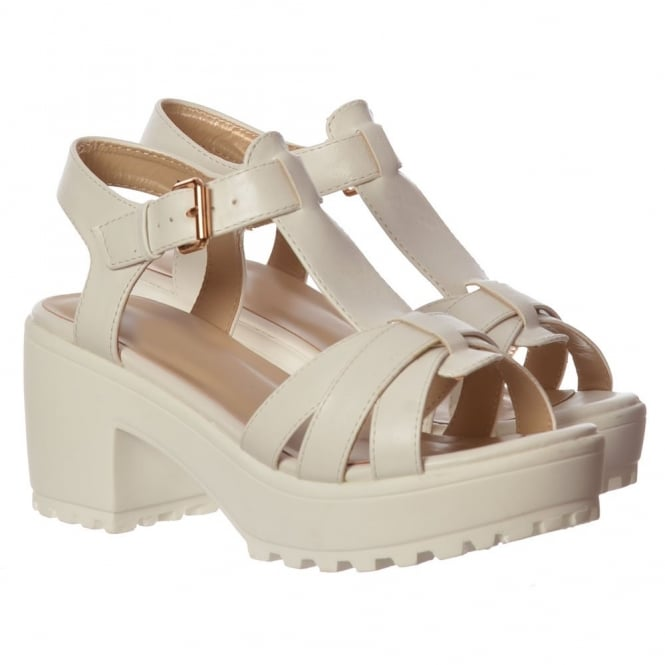 Onlineshoe Low Block Heel T Bar Cleated Sole Summer Sandals - Black, White