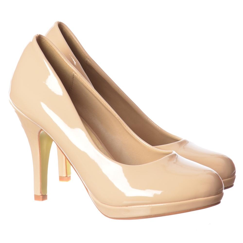 Onlineshoe Low Heel Stiletto Court Shoe - Nude Patent, Black ...