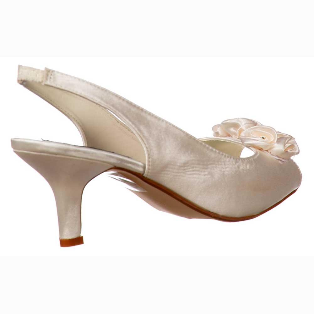 38f4d9f2e47 Low Kitten Heel Bridal Wedding Peep Toe Shoes - Diamante Flower - Ivory  Satin