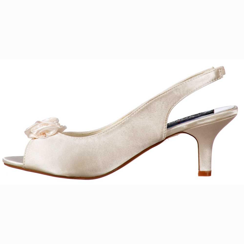 Low Kitten Heel Bridal Wedding Peep Toe Shoes - Diamante Flower - Ivory  Satin 0f5112501f