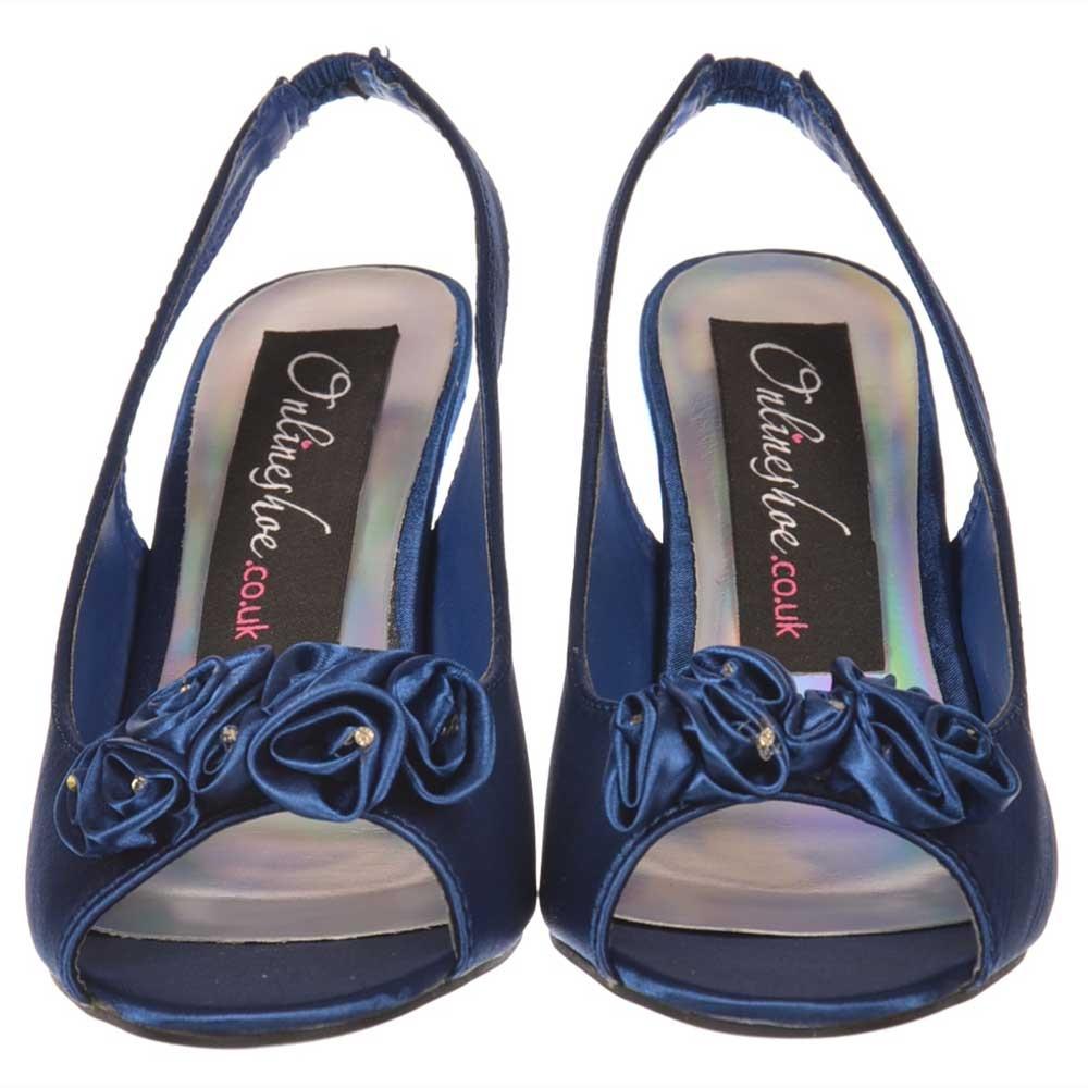 658fd25e86b Low Kitten Heel Bridal Wedding Peep Toe Shoes - Diamante Flower - Navy Satin