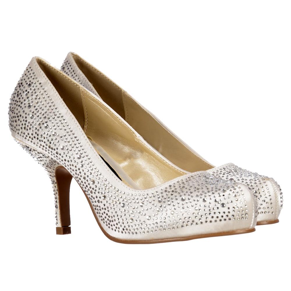 Crystal Wedding Shoes Low Heel