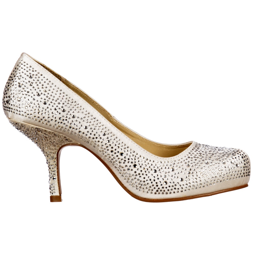 f480f76e86 Low Kitten Heel Bridal Wedding Shoes - Classic Court Diamante Crystal -  Ivory Satin