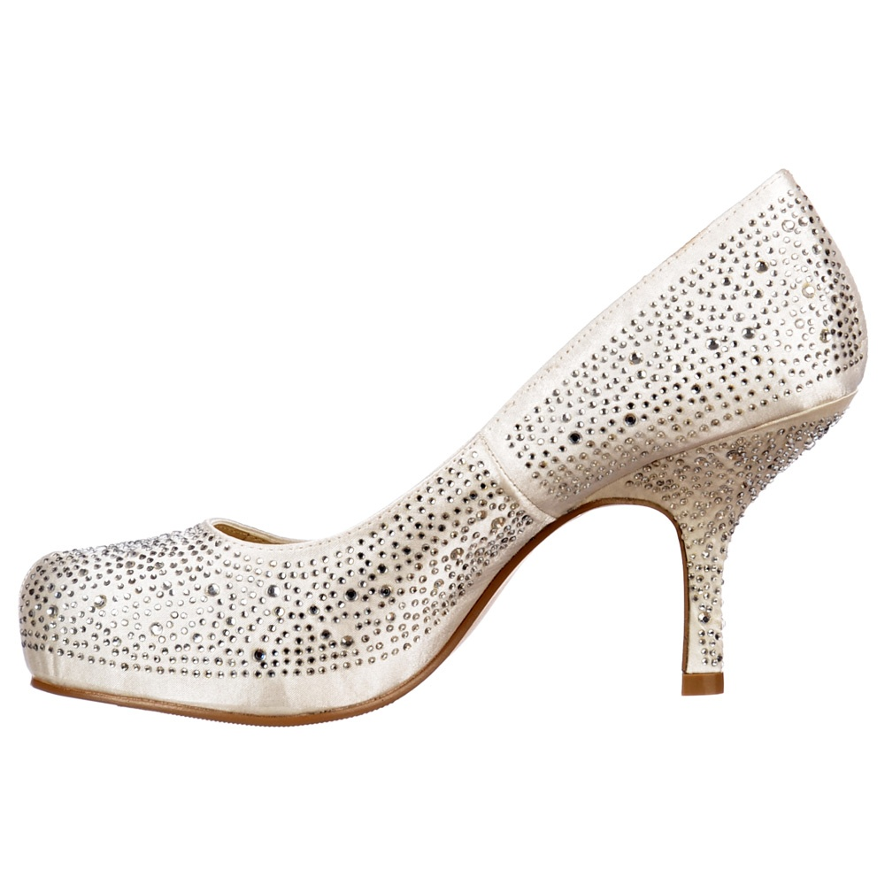 Low Kitten Heel Bridal Wedding Shoes   Classic Court Diamante Crystal    Ivory Satin