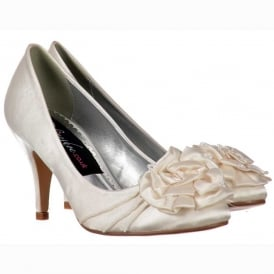 Low Kitten Heel Bridal Wedding Shoes - Flower and Pearl - Ivory Satin