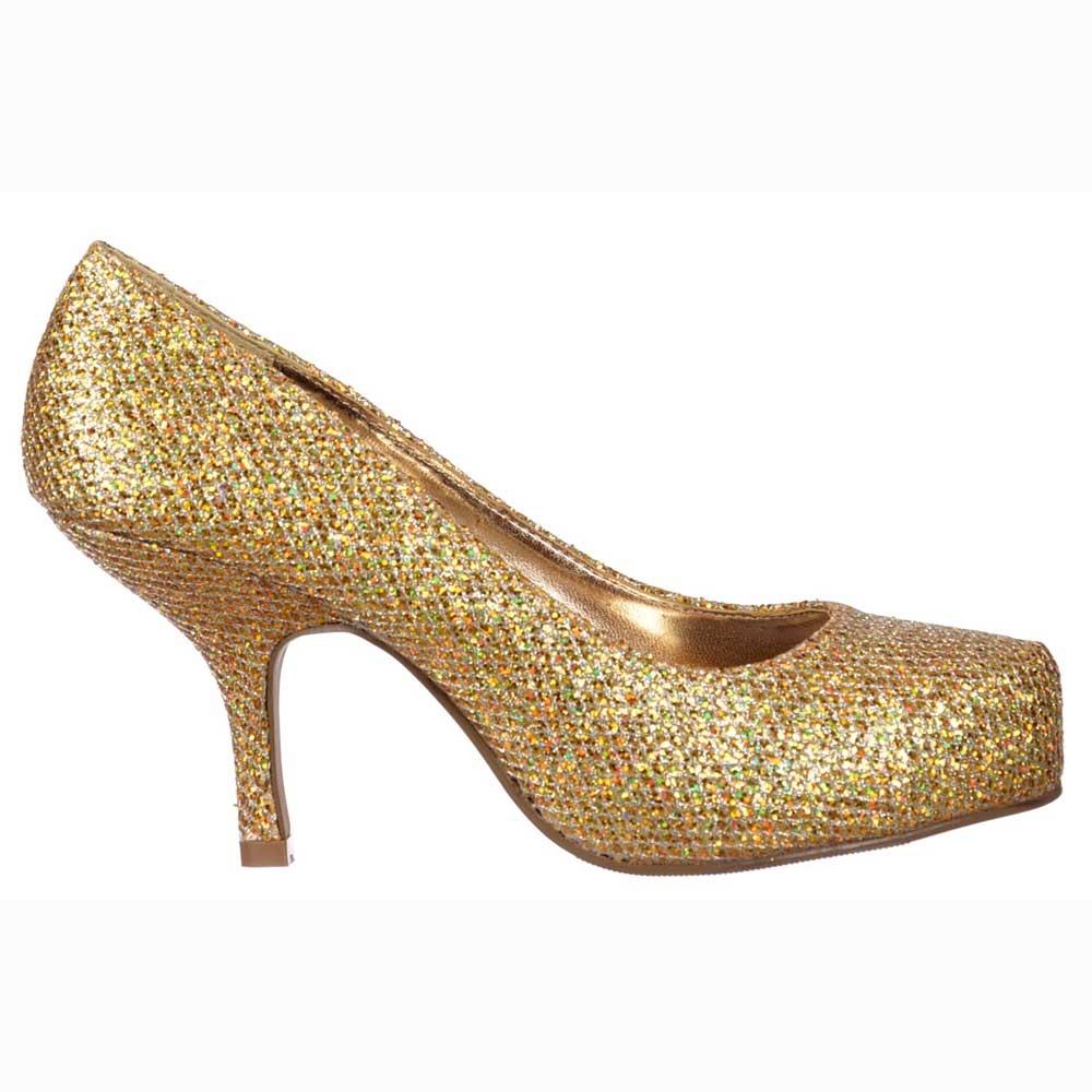 780c1d3aba5 Onlineshoe Low Kitten Heel - Court Shoes - Gold Glitter - WOMENS ...