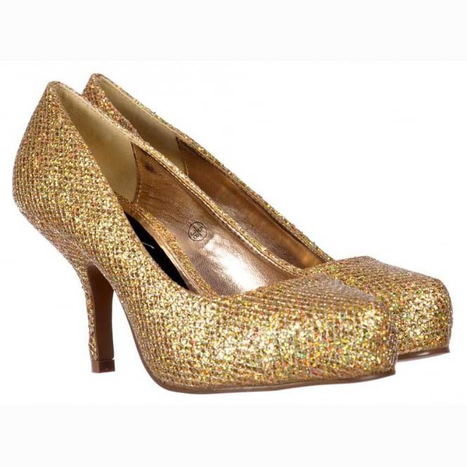 339210c36ce1 Onlineshoe Low Kitten Heel - Court Shoes - Gold Glitter - WOMENS from  Onlineshoe UK