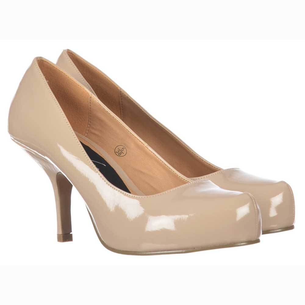 7a662126d0 Onlineshoe Low Kitten Heel - Court Shoes - Nude Patent - WOMENS from ...