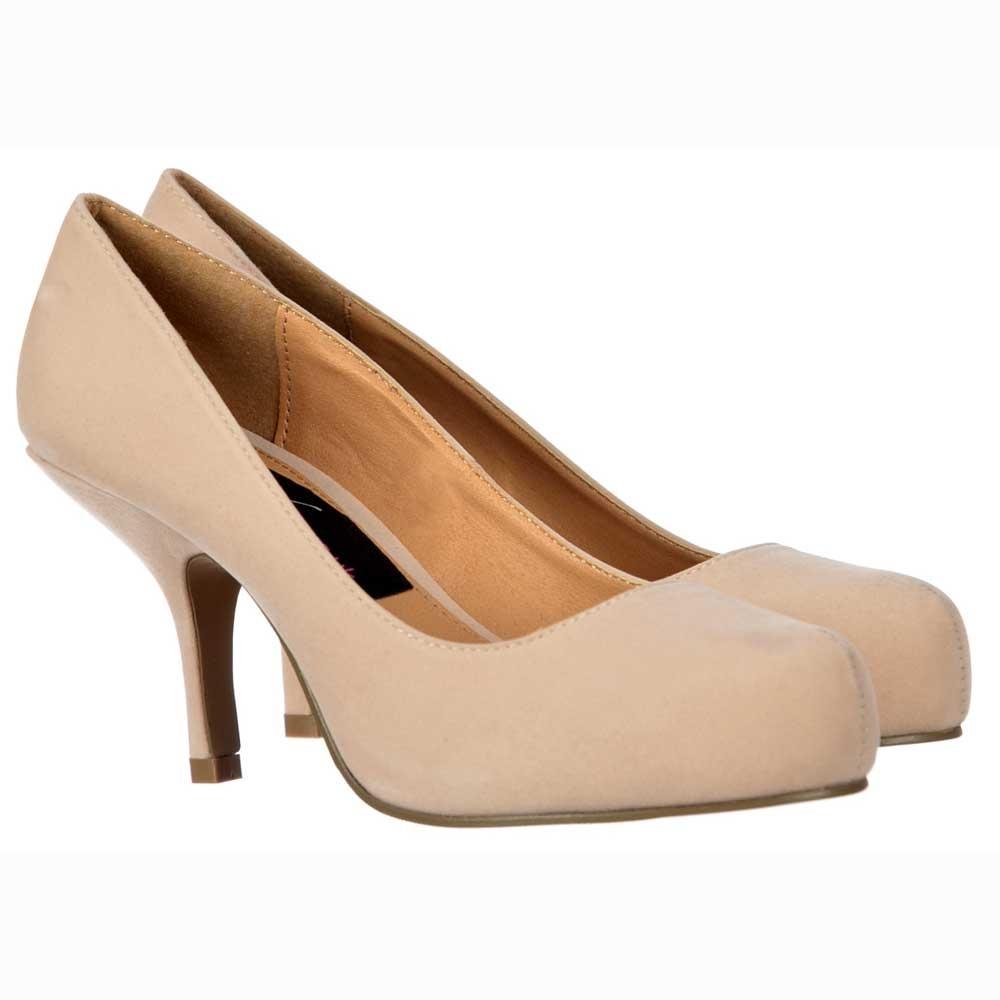Onlineshoe Low Kitten Heel - Court Shoes - Nude Suede - WOMENS ...