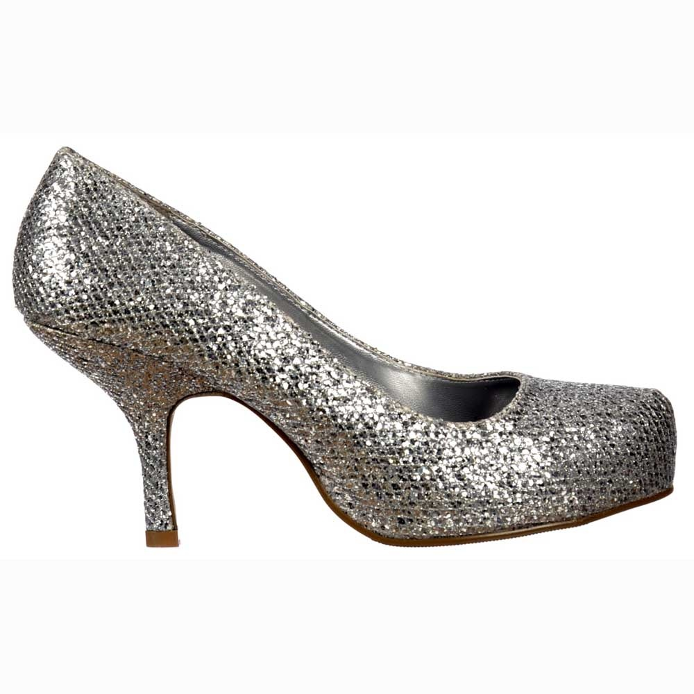 8d9e8d8e49efe Onlineshoe Low Kitten Heel - Court Shoes - Silver Glitter - WOMENS ...