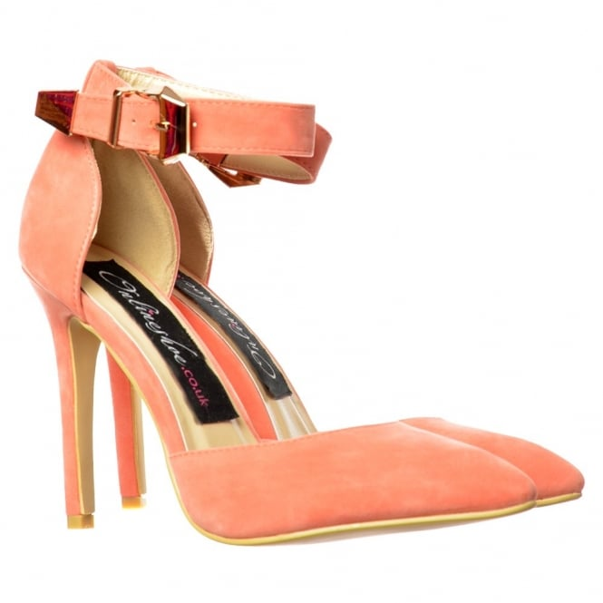 Onlineshoe Low Mid Heel Ankle Strap Pastels - Pointed Toe - Mint Green, Fuchsia Pink, Black, Coral, Nude, White