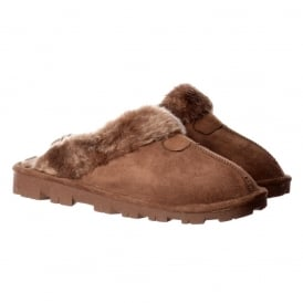 Luxury Fur Lined Slip On Mule Slippers With Hard Wearing Sole - Brown, Sand