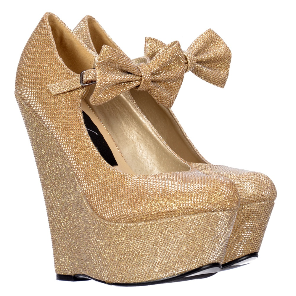fd51d38f8c33 Onlineshoe Mary Jane High Wedge Platform Bow Shoes - Dark Nude