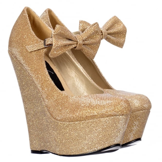 Onlineshoe Mary Jane High Wedge Platform Bow Shoes - Dark Nude, Gold, Silver Purple Glitter