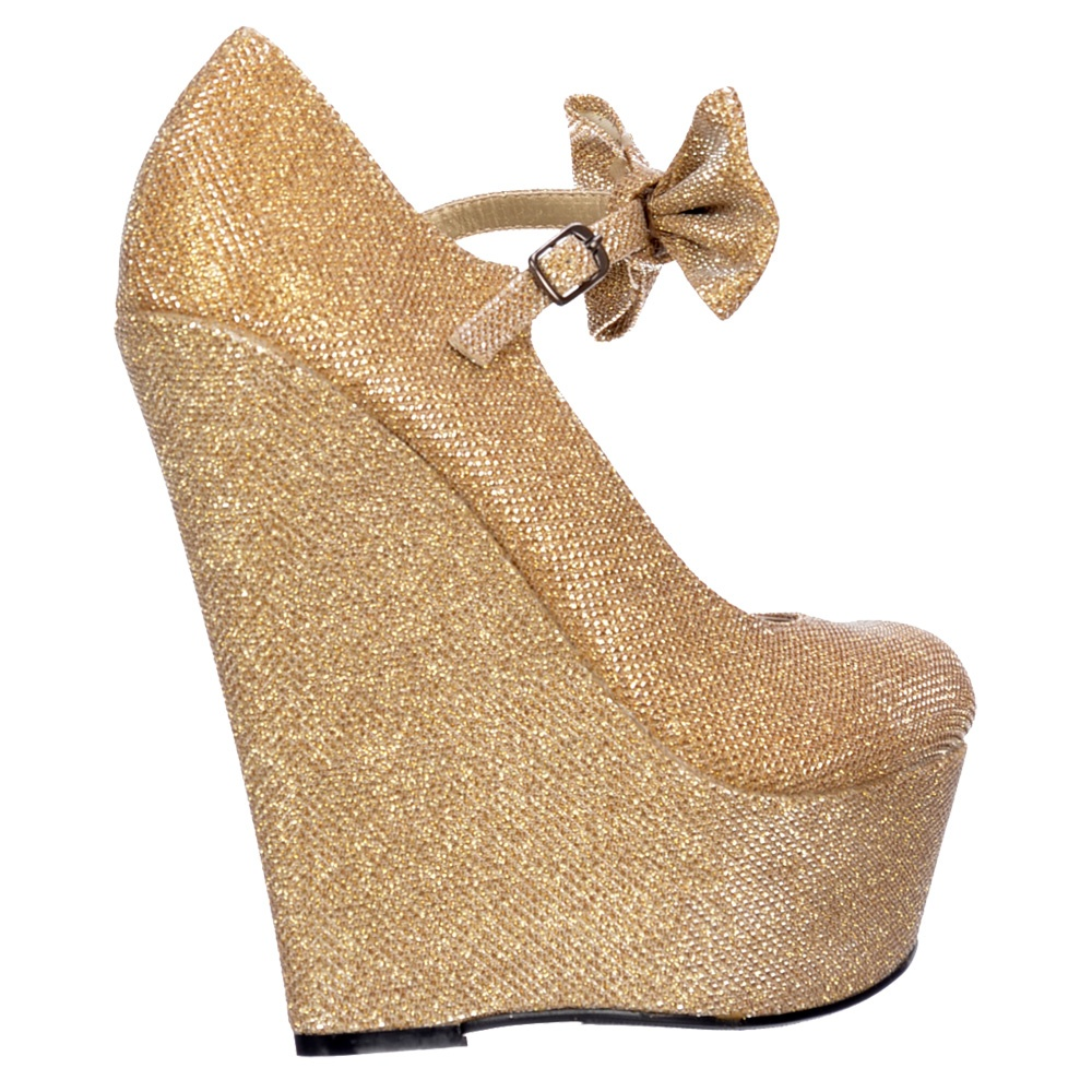 9b1e7d1df750 Onlineshoe Mary Jane High Wedge Platform Bow Shoes - Dark Nude