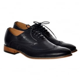 Mens Belgravia Smart Brogue Shoe Leather Look - Navy Blue