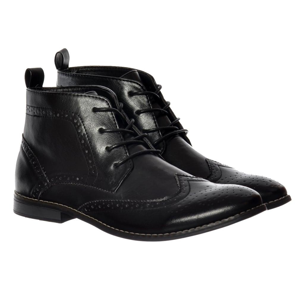 1f0d7f5c Mens Bertie Smart Brogue Boot Leather Look - Black, Tan Brown
