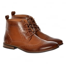 Mens Bertie Smart Brogue Boot Leather Look - Black, Tan Brown