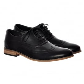 Mens Irwell Smart Brogue Shoe Leather Look - Black, Brown