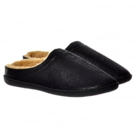 Mens Luxury Fur Lined Slip On Mule Slippers With Hard Wearing Sole - Black, Brown