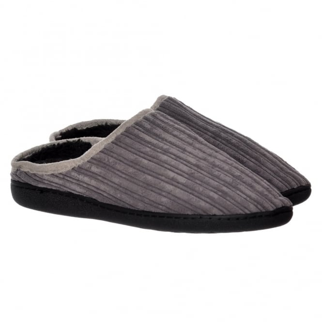 Onlineshoe Mens Luxury Fur Lined Slip On Mule Slippers With Hard Wearing Sole - Black, Grey