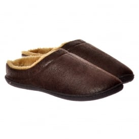 Mens Luxury Fur Lined Slip On Mule Slippers With Hard Wearing Sole - Brown, Dark Brown, Tan, Brown, Black, Grey