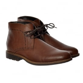 Mens Smart Brogue Boot Round Toe Leather Look - Brown