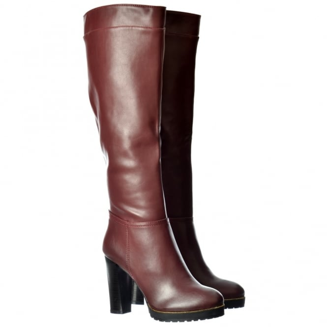 Onlineshoe Mid Block Heel Knee High Winter Boot - Zip Toe Detail - Black, Burgundy