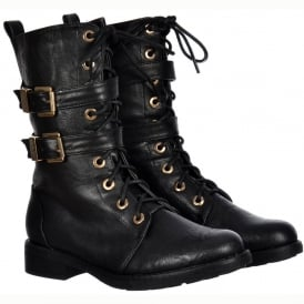 Military Biker Ankle Boot - Lace Up and Double Buckle - Black PU